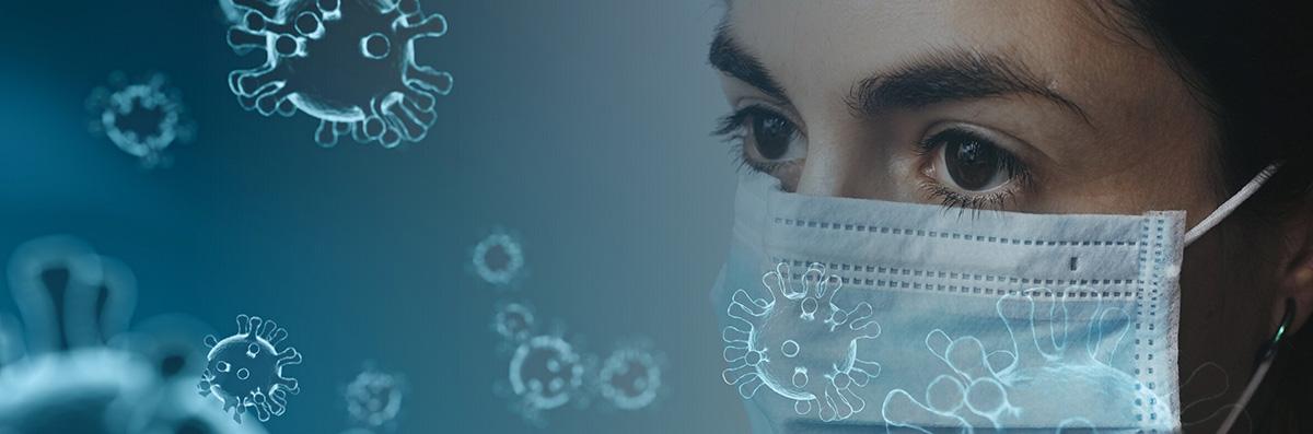 Coronavirus female in a mask with stylised coronaviruses floating