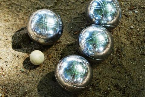 Four petanque balls