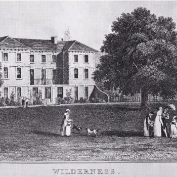 Historical black and white showing Wildernesse House around 1800