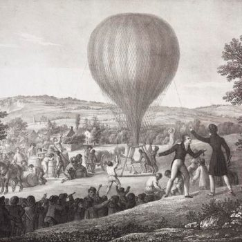 Historical black and white showing the Seal balloon